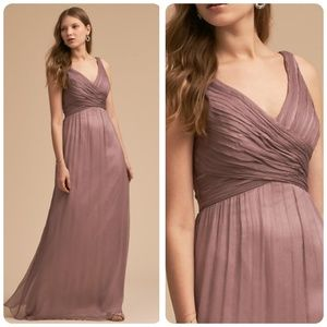 BHLDN Anthropologie Angie mauve bridesmaid gown M